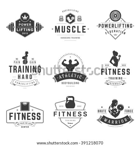 Fitness Logos Templates Set Vector Object Stock Vector