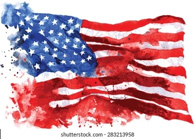 american flag drawing stock