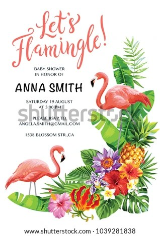 Flamingo Party Invitation Tropical Hawaiian Poster Stock