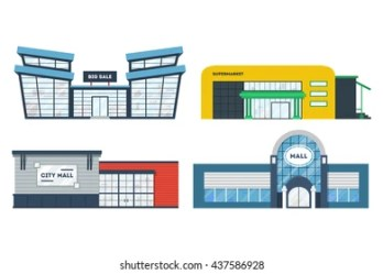 supermarket building mall shopping vector grocery exterior cartoon outside shutterstock entrance market flat place super