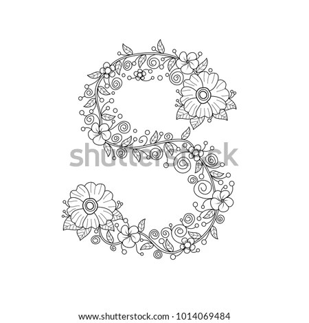 Floral Alphabet Letter S Coloring Book Stock Vector