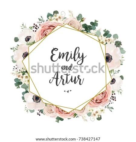 Fl Wedding Invitation Elegant Invite Card Vector Design Garden Flower Pink Peach Rose