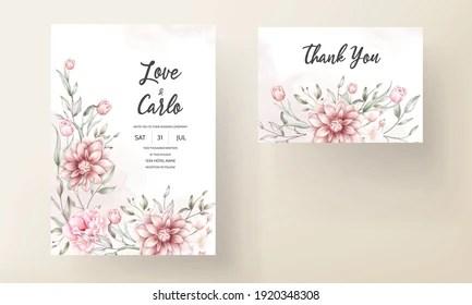 https www shutterstock com image vector floral wedding invitation template set brown 1920348308