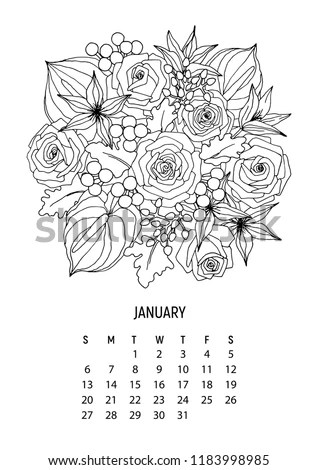 Flower Bouquet Coloring Calendar Page 1 Stock Vector