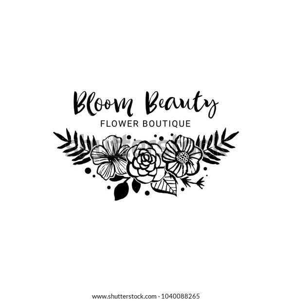 Flower Boutique Logo Template Bloom Beauty Stock Vector