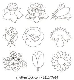 Simple Flower Outline Images, Stock Photos & Vectors