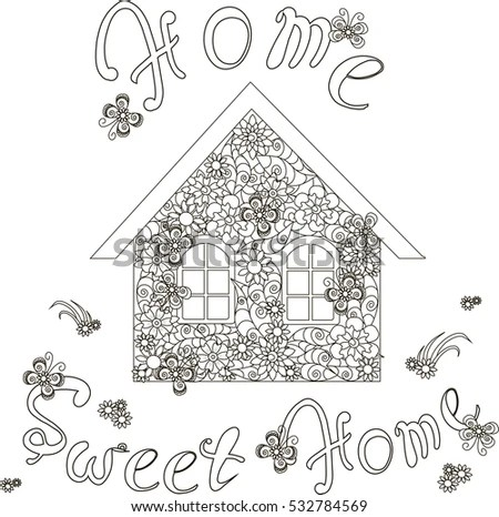 Flowers House Lettering Home Sweet Home Stock Vector