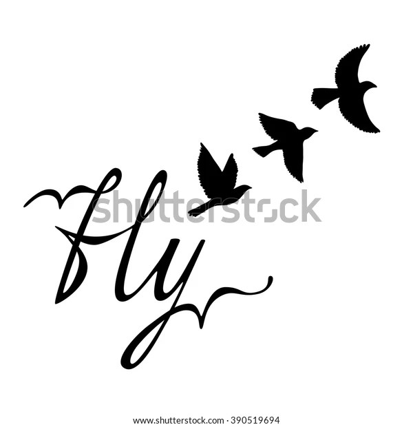 Fly Inspirational Quote About Happy Modern Stock Vector