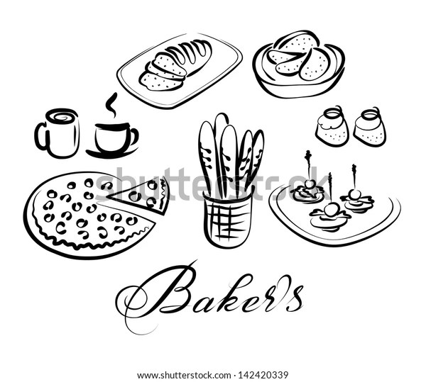 Food Drinks Vector Icon Set Bakers Stock Vector (Royalty