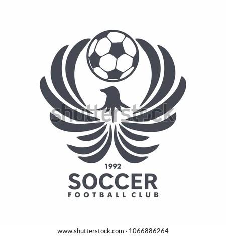 Football Club Logo Fenix Ball Emblem Stock Vector (Royalty