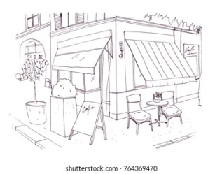 cafe drawing restaurant sidewalk table building street chairs european freehand standing vector illustration beside outdoor line background drawn outside drawings