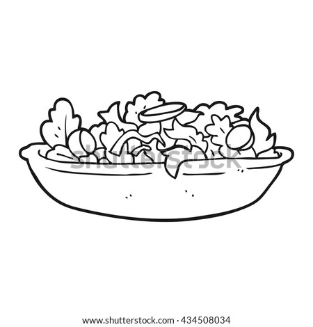 Freehand Drawn Black White Cartoon Salad Image vectorielle