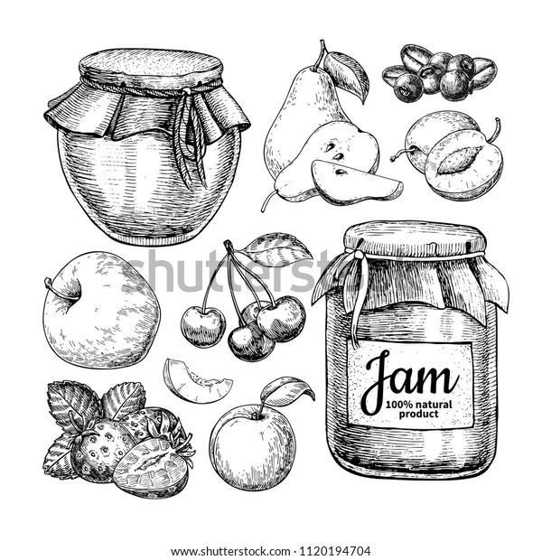 Fruit Jam Glass Jar Vector Drawing Stock Vector (Royalty