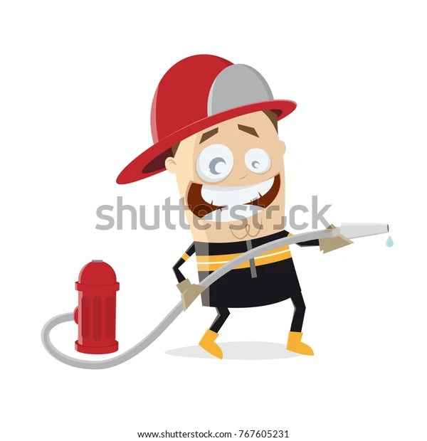 Funny Firefighter Clipart Stock Vector Royalty Free 767605231