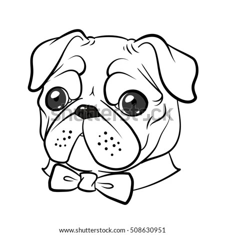 Funny Pug Dog Bow Tie Vector Stock Vector (Royalty Free