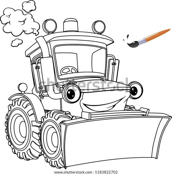 Funny Tractor Bulldozer Coloring Pages Coloring Stock