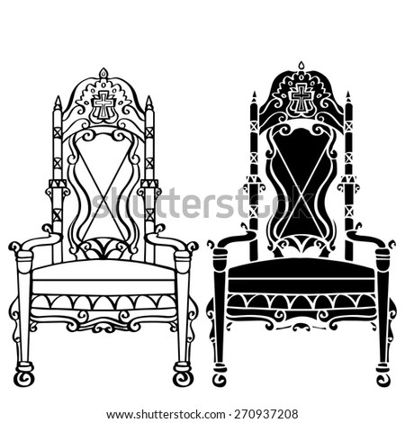 black gothic throne chair blue bedroom uk furniture hand drawn set vintage stock vector royalty free armchair front view closeup line art silhouette isolated on a white background