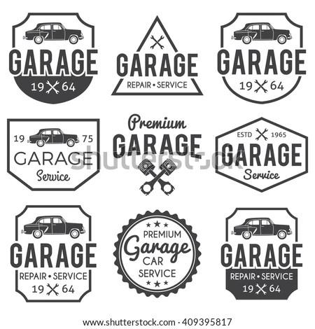 Garage Badgelabel Set Car Repair Logos Stock Vector
