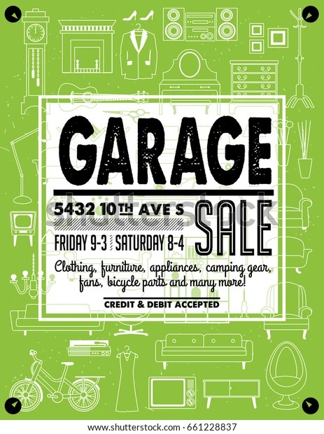 Yard Sale Images Free : images, Garage, Signs, Household, Stock, Vector, (Royalty, Free), 661228837