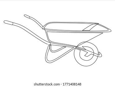 pix How To Draw A Simple Wheelbarrow https www shutterstock com image vector garden wheelbarrow outline icon tools vector 1771408148