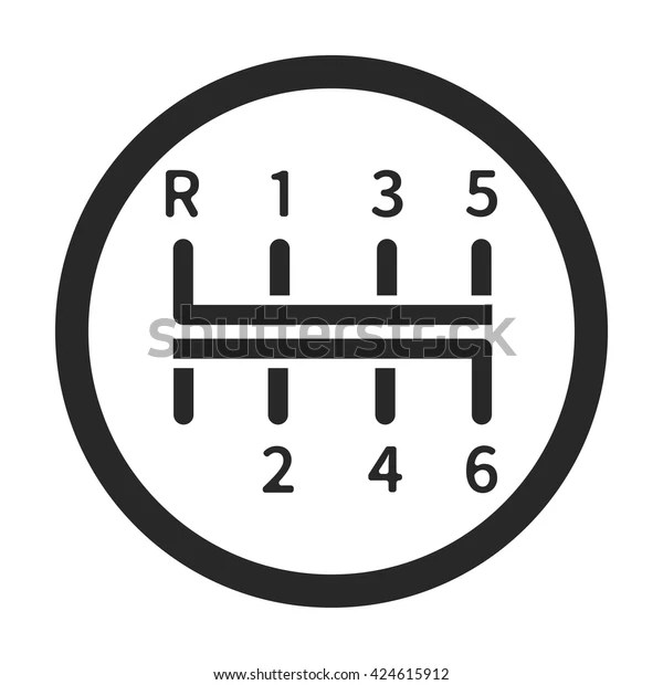 Gear Shift Manual Transmission Sign Simple Stock Vector
