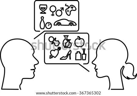 Gender Stereotypes Male Female Monoline Profiles Stock