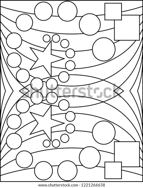 Geometric Coloring Page Geometric Shape Outline Stock