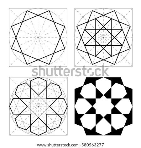 Geometric Shapes Stages Construction Arab Pattern Stock