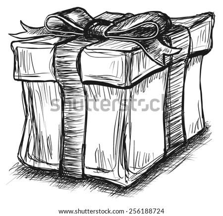 Gift Box Present Ribbon Bow Sketch Stock Vector (Royalty