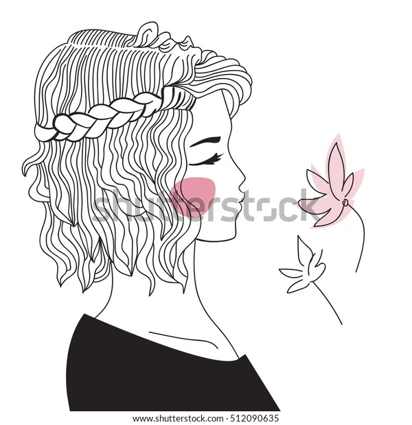 Girl Braided Hair Oblique Woman Face Stock Vector (Royalty