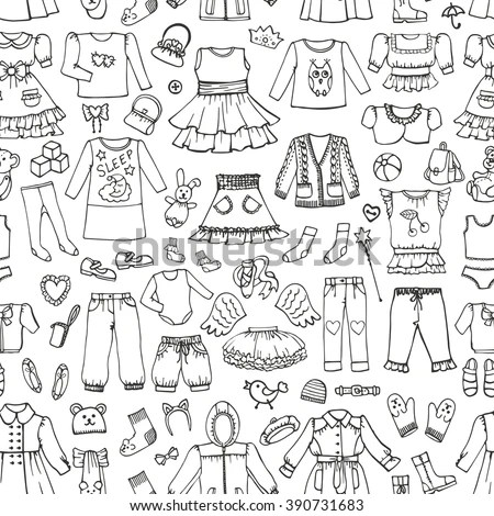 Girl Fashion Wear Seamless Pattern Babyteenager