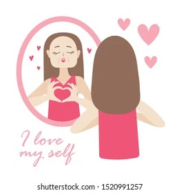 Image result for woman looking in the mirror with heart love image cartoon