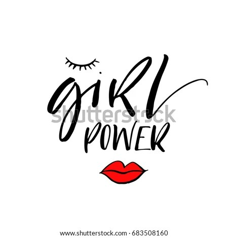 Girl Power Phrase Motivational Quote Ink Stock Vector