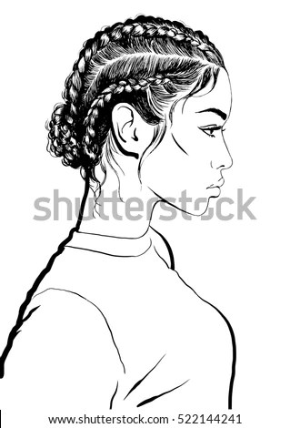 Girl Stylish Braids Stock Vector (Royalty Free) 522144241