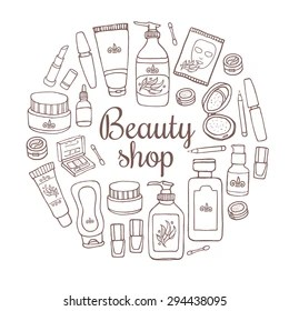 Collection Cosmetics Doodles Stock Images, Royalty-Free
