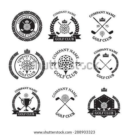 Golf Club Logos Set Templates Vector Logotype Stock Vector