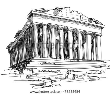 Greece Parthenon Sketch Stock Vector (Royalty Free