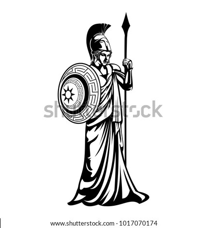 Greek Goddess Athena Illustration Vector Template Stock
