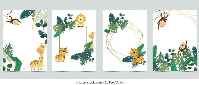 https www shutterstock com image vector green collection safari background set monkeyleopardgiraffe 1815673595