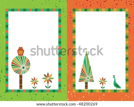 green orange frames owl