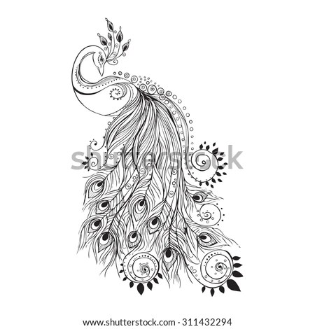 Greeting Beautiful Card Peacock Frame Peacock Stock Vector