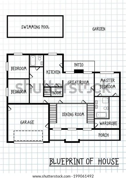 Ground Floor Plan Floorplan House Home Stock Vector