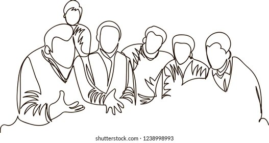 Serious Group Discussion Stock Illustrations, Images