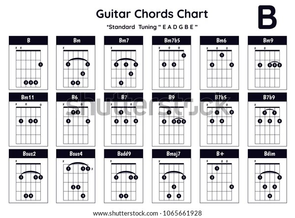 Vector de stock (libre de regalías) sobre Guitar Chords B