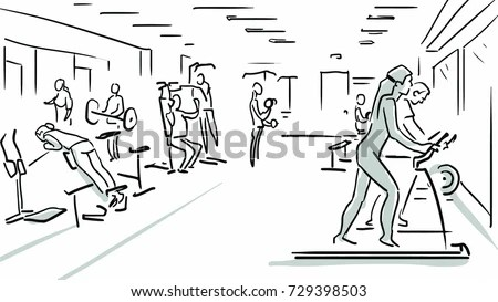 Gym Black White Vector Sketch People Stock Vector (Royalty