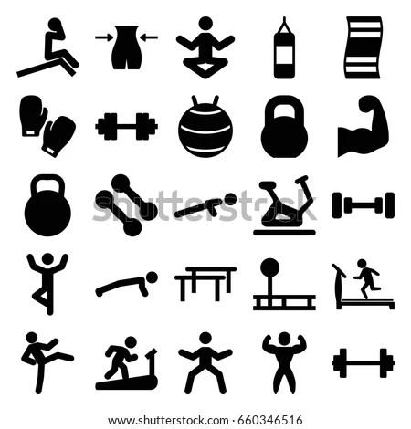 Gym Icons Set Set 25 Gym Vector de stock (libre de