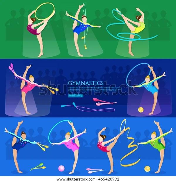 Gymnastics Girls Professional Sports Athletics Vector 스톡 벡터(로열티 프리) 465420992