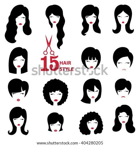 Hairstyle Silhouette Set Womangirlfemale Facehair Beauty