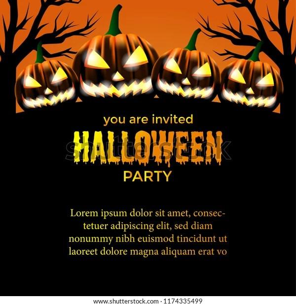 https www shutterstock com image vector halloween party invitation template scary pumpkin 1174335499