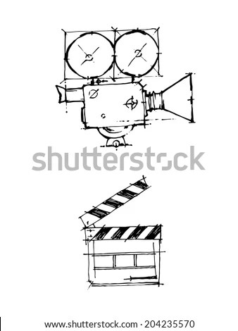 Hand Draw Sketch Vintage Cinema Camera Stock Vector
